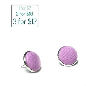 Post earrings pastel purple fabric covered buttons